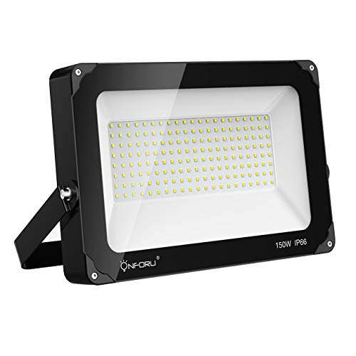 - Onforu 150W LED Flood Light, 15,000lm 5000K Daylight White, IP66 Waterproof Super Bright Security Lights, Outdoor Floodlight for Yard, Garden, Playground, Basketball Court
