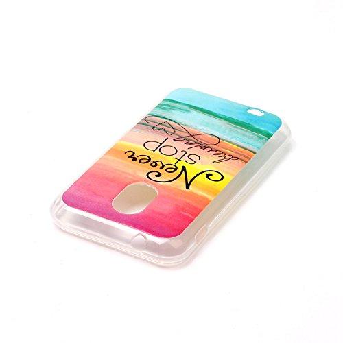 Qiaogle Teléfono Caso - Funda de TPU silicona Carcasa Case Cover para Vodafone Smart Ultra 6 (5.5 Pulgadas) - YH17 / elefante YH16 / Never Stop Dreaming