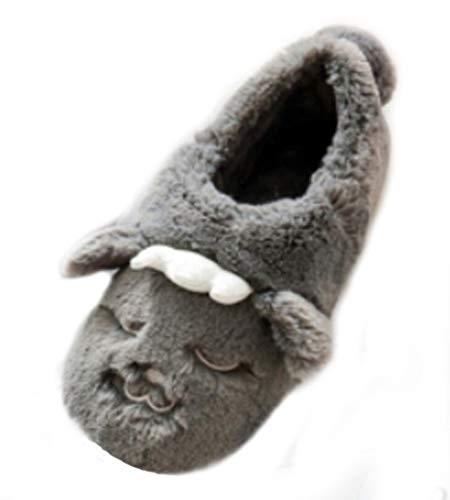 Anti Foam Bedroom Fur Slippers Wolf Rabbit House Indoor Plush Slippers Womens Memory Slip Mens Grey Warm Fuzzy Winter Cartoon vZqazwO