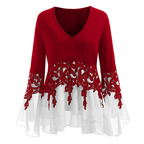 GOVOW Christmas Chiffon Blouses for Women Plus Size - Casual Applique Flowy V-neck Long Sleeve Blouse Tops(US:18/CN:XXXXXL,Red) -
