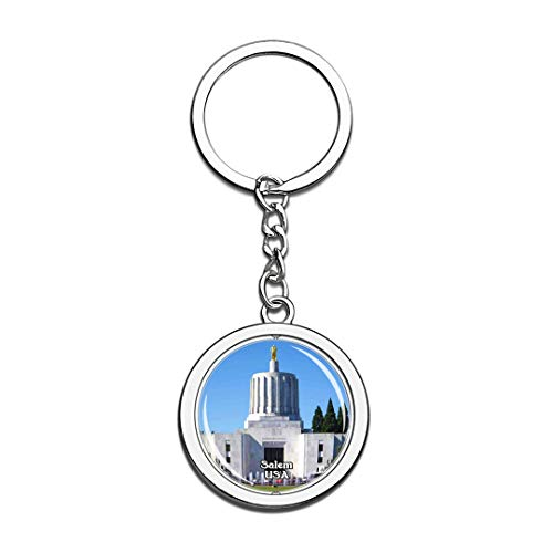 Keychain Oregon State Capitol Salem United States USA US Keychain Crystal Spinning Round Stainless Steel Keychains Souvenir Key Chain Ring -