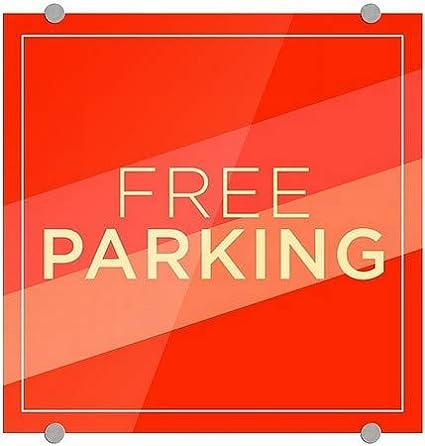 16x16 Modern Diagonal Premium Brushed Aluminum Sign Free Parking CGSignLab 5-Pack