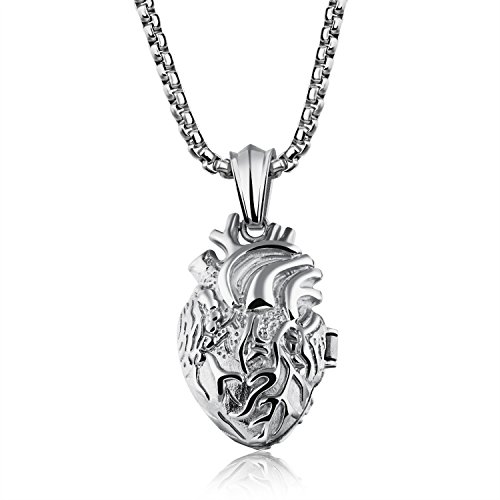 LBFEEL Stainless Steel Anatomical Organ Heart Pendant Necklace for Men in 3 Colors With a Gift Box
