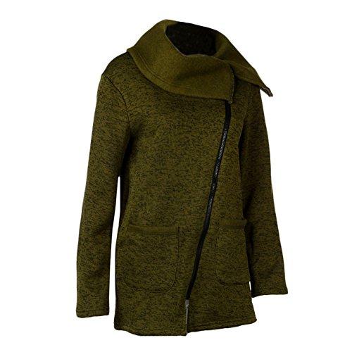 Femme Chaud Veste Blouson Grande taille Zipper Casual Tops Vert arm