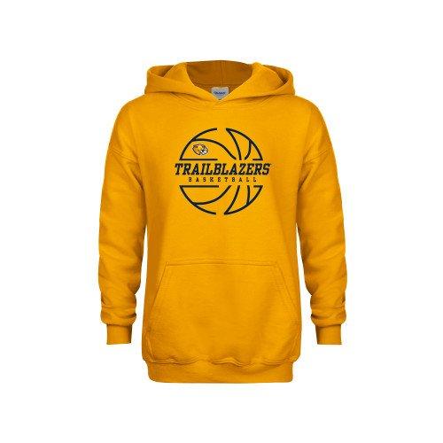 Massachusetts College Youth Gold Fleece Hoodie Basketball Ball Design
