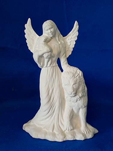 Angel of Peace with Lion and Sheep Figurine unpainted ceramic bisque ready to be painted (Ceramic Bisque Lion)