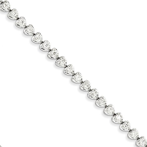 14k White Gold Diamond Heart Link Bracelet (Solid 14k White Gold Diamond Heart Link Bracelet 7