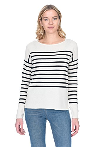 - State Cashmere Women's 100% Pure Cashmere Striped Crewneck Sweater