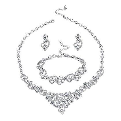 LOYALLOOK Silver-Tone Crystal Heart Bridal Br...