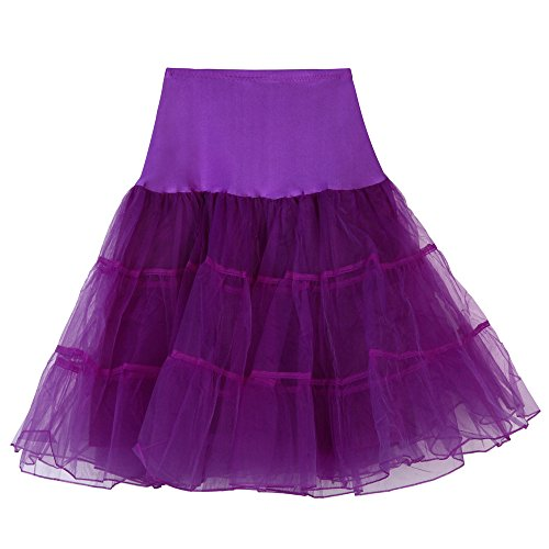 (Womens Adult Tulle Tutu Skirt, High Waist Lace Pleated Bubble Tutu Dance Half Slip Skirt (Purple, XL))