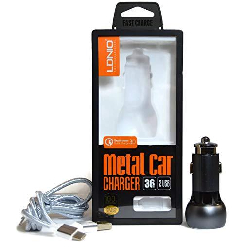 TLGadgets Cargador metalico para carro / Auto con Doble puertos QC 3.0 y cable tipo C de 100cm. Adaptador Coche Carga Rápida...