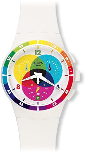 Swatch Unisex SUSW404 Chromograph Analog Display Quartz White Watch