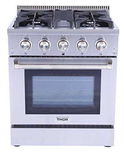 - 30inch Built-in Pro-style Dual Fuel Range with Convection Oven-Thor Kitchen in Stainless Steel with 4 Burners