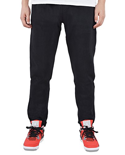 Men's Fleece Heathered Gym Drawstring Sweatpants (Black,medium)