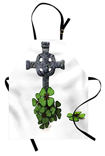 Celtic Apron by Lunarable, Celtic Knot Pattern with Four Leaf Clover Floral Design Saint Patrick's Day Theme, Unisex Kitchen Bib Apron with Adjustable Neck for Cooking Baking Gardening, Grey Green