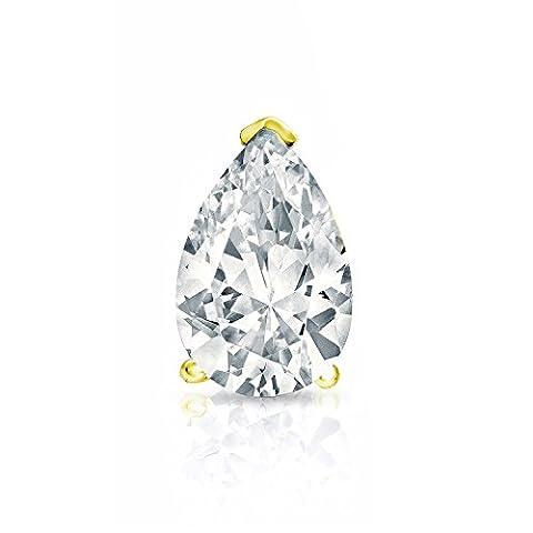 IGI Certified 14k Yellow Gold V-Prong Pear Diamond SINGLE STUD Earring (1ct,O.White,I1-I2) - I1 Pear Earrings