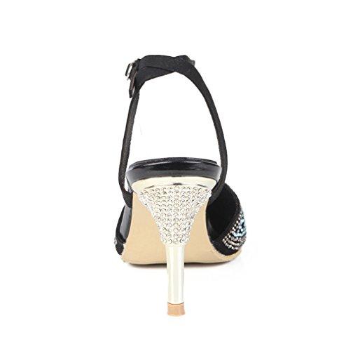 Diamante Tacón Boda Estilete Corte Slingback Zapatillas Correa Dedo Nvxie Sandalias Puntiagudo Fiesta Vestir Pie Zapatos Mujer Del Tobillo Negro Alto 8nfgqYZ