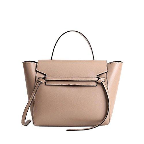 Belt Handbag Shoulder Women's Stylish Real Viviesta Leather Trapeze Khaki Knot Bag zFxI0wn