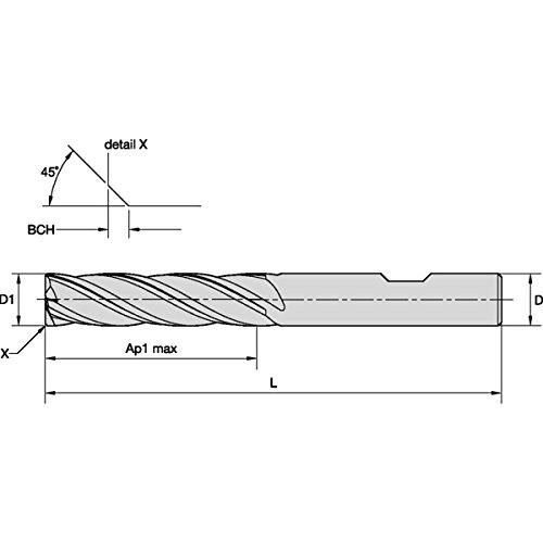 6 mm Shank Diameter TiAlN Coating Carbide Weldon Shank 6 mm Cutting Diameter 4-Flute WIDIA Hanita 471706002LW VariMill I 4717 HP End Mill Right Hand Cut