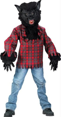 Fun World Costumes Men's Teen Wolf Costume, Plaid, One Size - Deluxe Werewolf Fangs