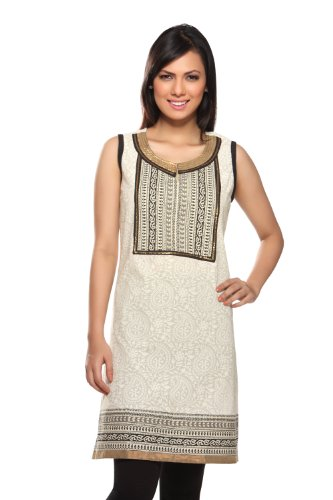 Rangmanch Women's Indian Mix N Match Kurta Off White X-Large by In-Sattva