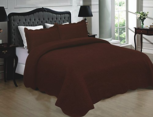 Mk Collection 3pc Quilted bedspread Embroidery Solid 100% Cotton New (Solid Bath Collection)