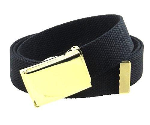 Canvas Web Belt Flip-Top Brass Plate Buckle/Tip Solid Color 50