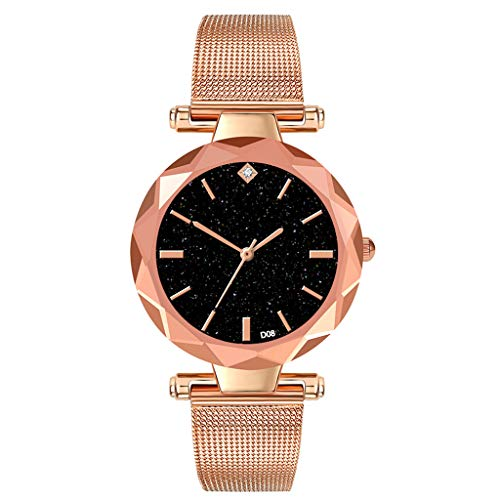 Saying Women'S Wrist Watches, Minimalist Star Dial With Diamond Stainless Steel Mesh Strap Female Watch, Colorful Starry Dial, Low-Key Cool Personality Durable Does Not Fade (rose - Star Watch Wrist Diamond