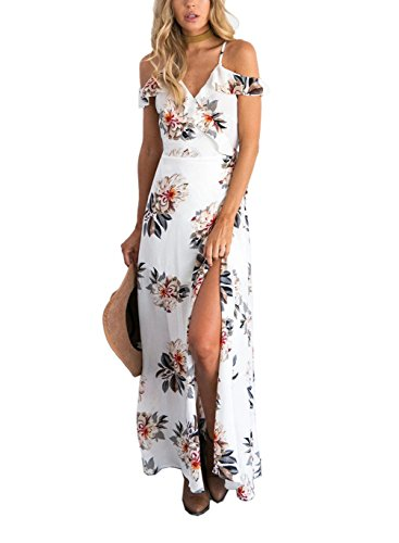 FFLMYUHULIU Women's Sexy Split Floral Off-shoulder Beach Party Maxi Dress(C2604-White,S)
