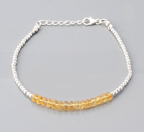 Natural Yellow Citrine Beads Bar Bracelet with 925 Silver beads & clasp 6.50