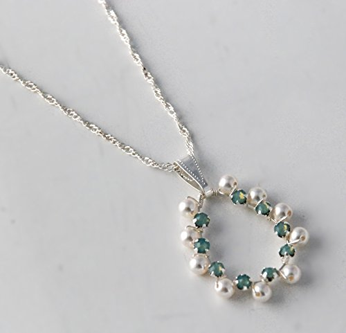 16-17 Inch Long Silver Tone Swarovski Element Aqua Blue Green Crystal and White Simulated Pearl Teardrop Pendant Necklace with Twisted Rope - Elements Crystal Basket Swarovski
