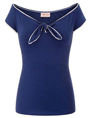 (Belle Poque Women's Off Shoulder Tops Short Sleeve Bow-Knot Tee Shirts Navy Blue Size L BP601-2)