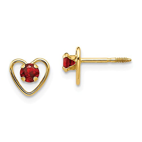 14k Yellow Gold 3mm Red Garnet Birthstone Heart Earrings January Love Fine Jewelry Gifts For Women For Her ()