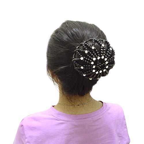Honbay Hair Bun Cover Elastic Handmade Crochet Hair Net Snood with Pearls and Rhinestones for Ballet, Dance, Skating, etc - Net Pearl