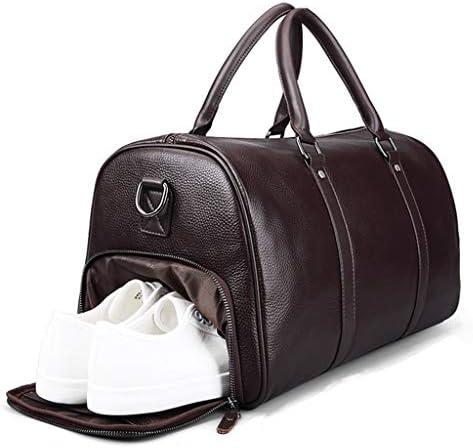 独立した靴 革素材堅牢性と耐久性ブラック、ブラウンポータブルビジネスバッグ多機能ポータブル大容量トラベルバッグ HMMSP (Color : Brown)
