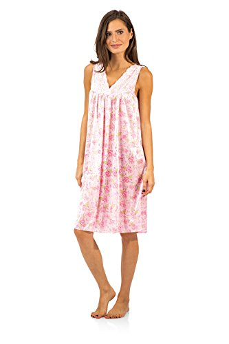 Casual Nights Women's Flower Lace Tricot Sleeveless Nightgown - Floral/Pink - - Floral Lace Nightgown