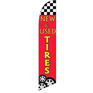 Windless Full Sleeve Swooper Flag w/ Pole & Spike NEW & USED TIRES Red Yellow Tire Pic