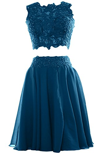 MACloth Women Two Piece Lace Chiffon Short Prom Dress Cocktail Party Formal Gown Teal