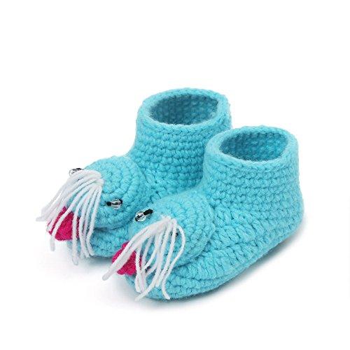 Baby Wanderschuhe,Chshe Prewalker Säugling Niedlich Wolle Handgefertigt Häkeln Flanschen Warm Weich 3-12Monate Schuhe Trainer Blau