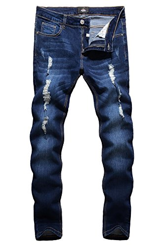 ZLZ Men's Ripped Skinny Distressed Destroyed Slim Fit Stretch Biker Jeans Pants Holes (32, Blue) by ZLZ
