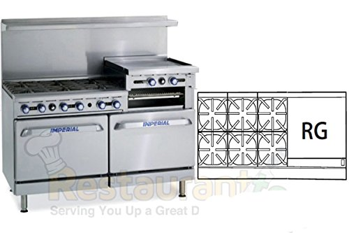Imperial Commercial Restaurant Range 60'' With 6Burner 24''Raised Griddle Oven/Cab Propane Ir-6-Rg24-Xb by Imperial