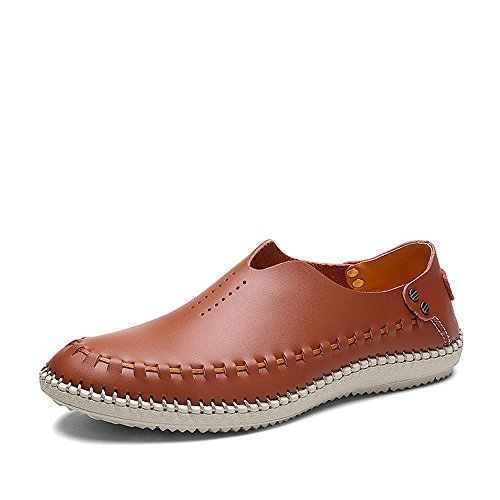 VILOCY Men's Casual Handmade Leather Loafer Shoes Breathable Hole Slip On Driver Boat Moccasins Brown,45