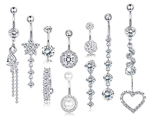 FIBO STEEL 10 Pcs 14G Stainless Steel Belly Button Rings for Women Girls Navel Piercing Barbell Body Jewelry CZ Inlaid Silver-Tone Animal Dangling Belly Button Ring