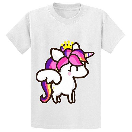 Unicorn Cartoon Cute Girls Crew Neck Short Sleeve Tees White