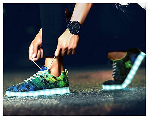 Luci Scarpe Giorno Corsa Lampeggiante Unisex da 7 Baskets Shoes Uomo Basse Partito USB Scarpe Verde per Colori Ragazzi Promenade Donna Mode Sneaker Adulto Il Carica LED Colorato Casuale di Smeraldo Ragazze da rKTpczr6q