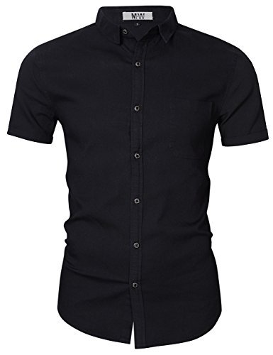 MrWonder Men's Casual Slim Fit Button Down Shirt Short Sleeve Denim Shirts Black L
