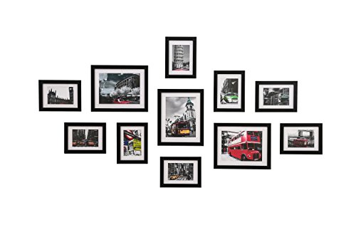 WOOD MEETS COLOR Wall Photo Frames, Including White Picture Mats and Installation Instruction, Set of 11 Collage Frames, 3-8x10 Inches, 8-5x7 Inches (Black) (Photo Frames For Wall)
