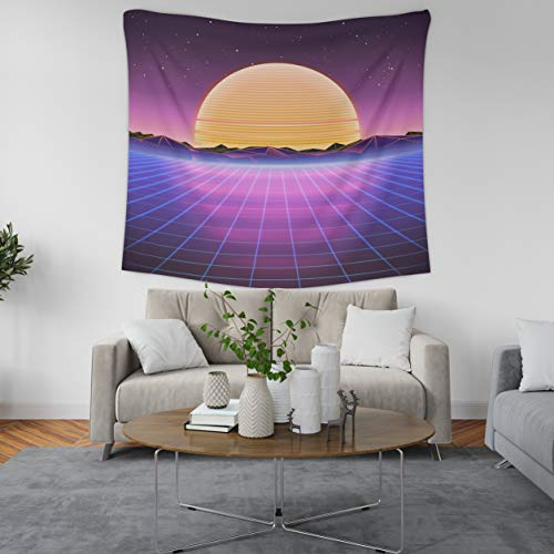 ASOCO Tapestry Wall Handing Retro Sci Fi Background with Sunrise Or Sunset Futuristic Retro Wave Wall Tapestry for Bedroom Living Room Tablecloth Dorm 50X60 Inches]()