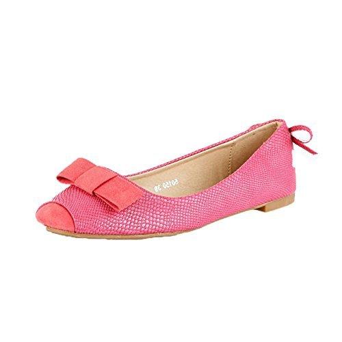 Mujer Efecto piel de serpiente zapato plano / zapatillas con bow - Fucsia, 5 UK