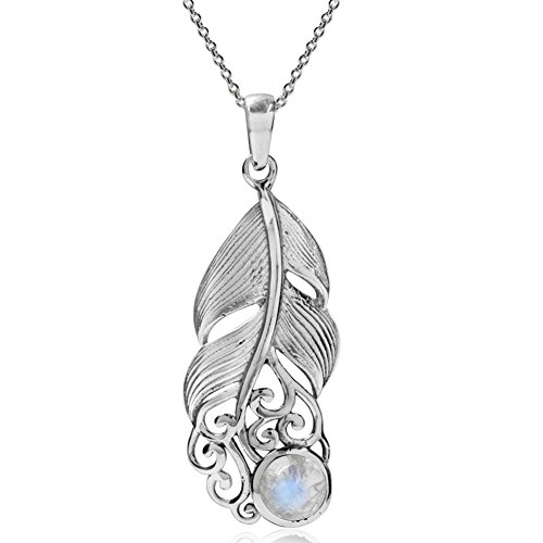 Silvershake Natural Moonstone 925 Sterling Silver Feather Victorian Style Pendant with 18 Inches Chain ()